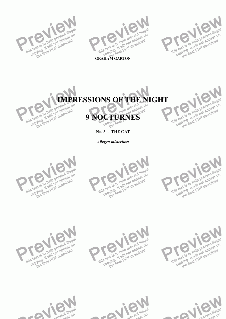 page one of NOCTURNES - IMPRESSIONS OF THE NIGHT - 9 NOCTURNES for SATB Unaccompanied  No.  3  -  THE CAT