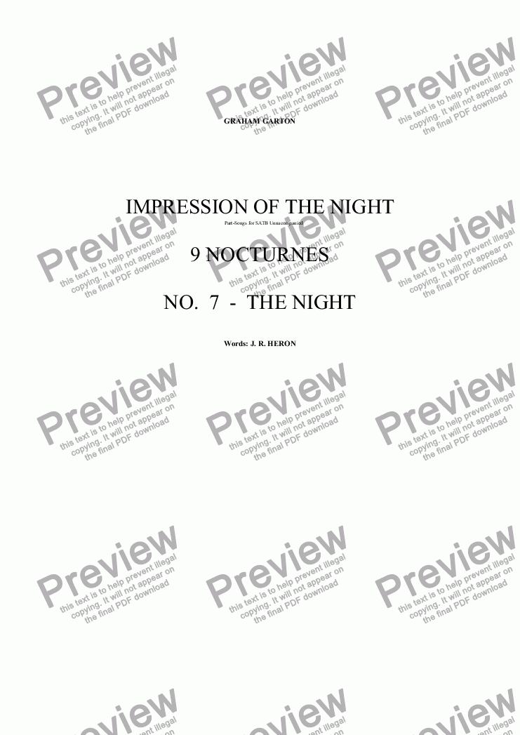 page one of NOCTURNES - IMPRESSIONS OF THE NIGHT - 9 NOCTURNES for SATB Unaccompanied No. 7 - THE NIGHT
