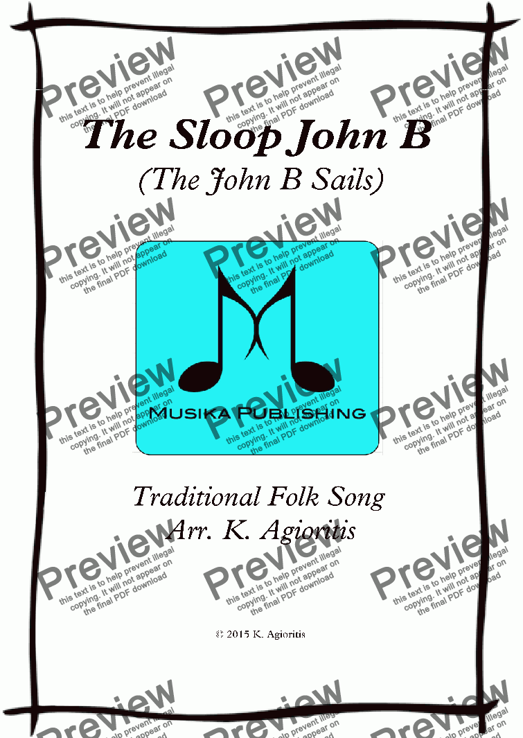 page one of The Sloop John B - Flute Quartet