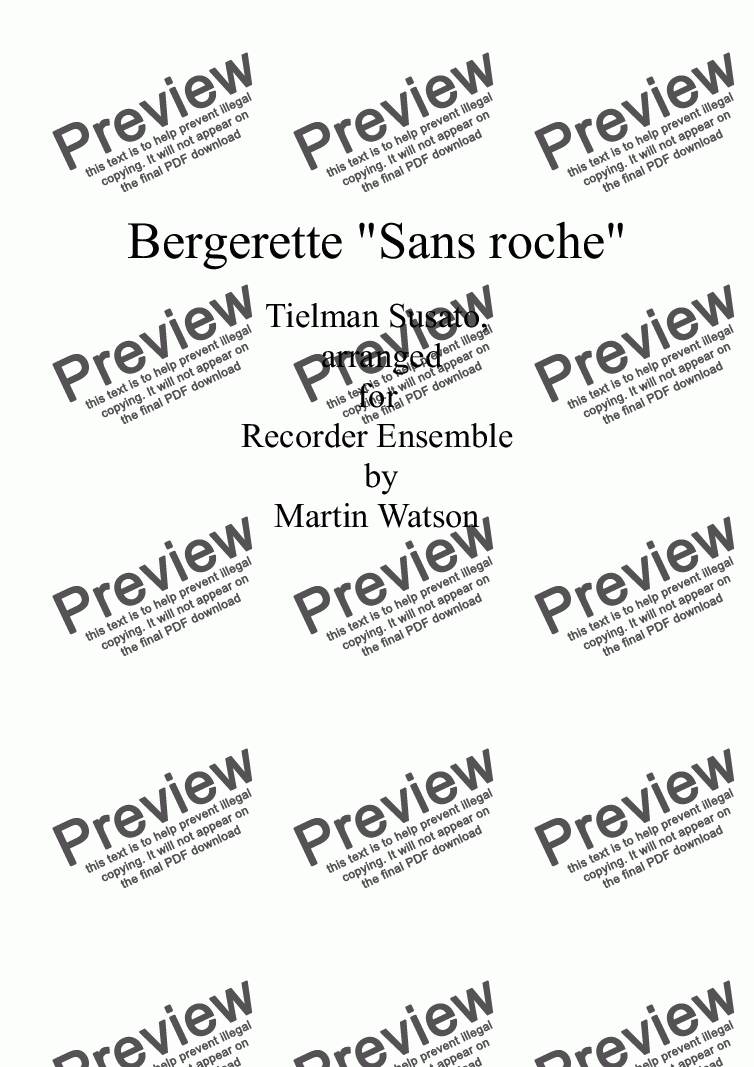 "page one of Bergerette ""Sans roche"" by Susato for Recorders"