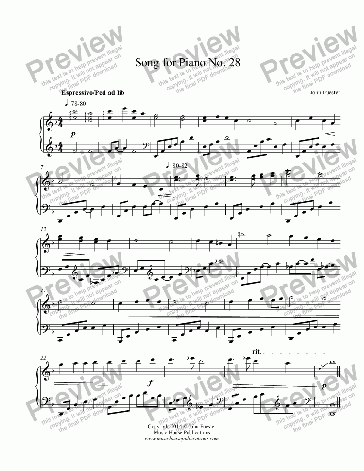 page one of Song for Piano No. 28ASALTTEXT
