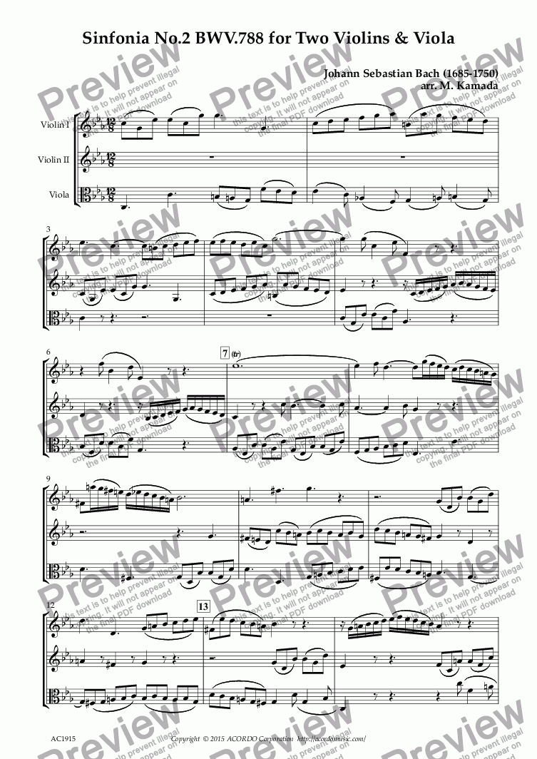 page one of Sinfonia No.2 BWV.788 for Two Violins & Viola