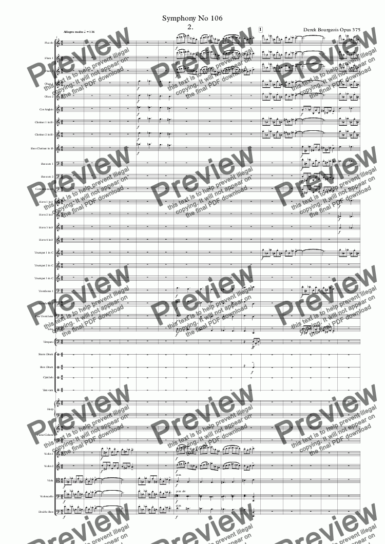 page one of Symphony No 106 2nd movt