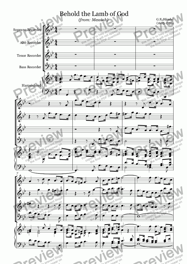 page one of Behold the Lamb of God (Händel)