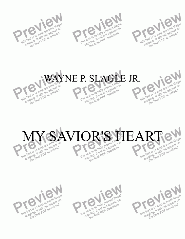 page one of MY SAVIOR'S HEART