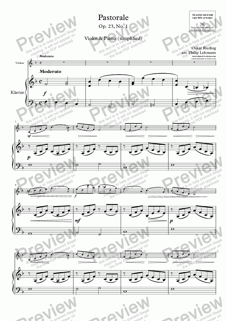 page one of Rieding, O. - Op.23 No.1, Pastorale - for Violin (orig.) & Piano (simplified)