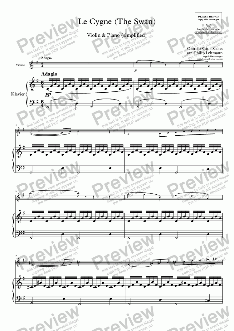 Saint-Saens, C  - Le Cygne (The Swan) - for Violin (orig ) & Piano  (simplified) for Solo Solo Violin + piano by Camille Saint-Saens - Sheet  Music PDF