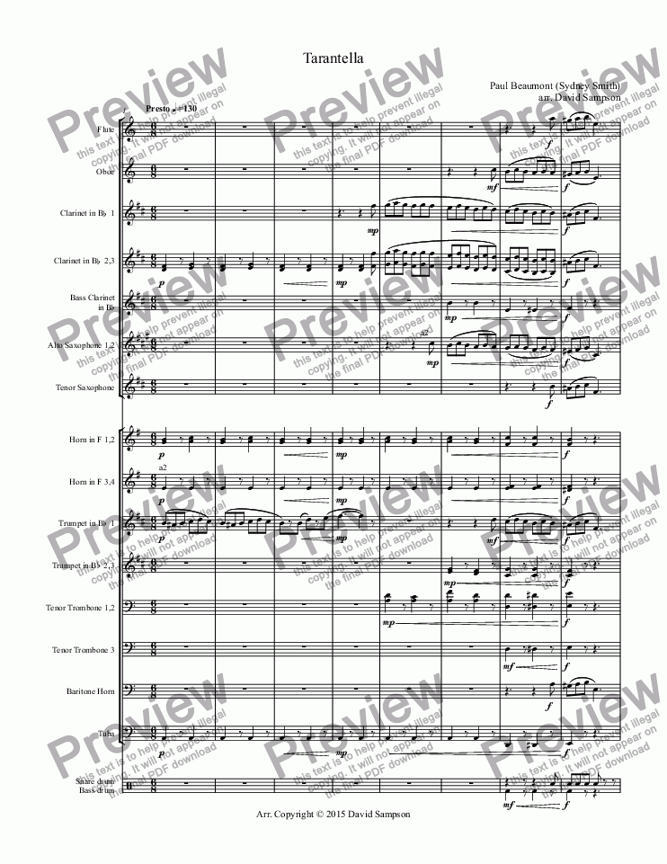 Tarantella For Concert Band Wind Band By Paul Beaumont Sydney Smith Sheet Music Pdf File To Download