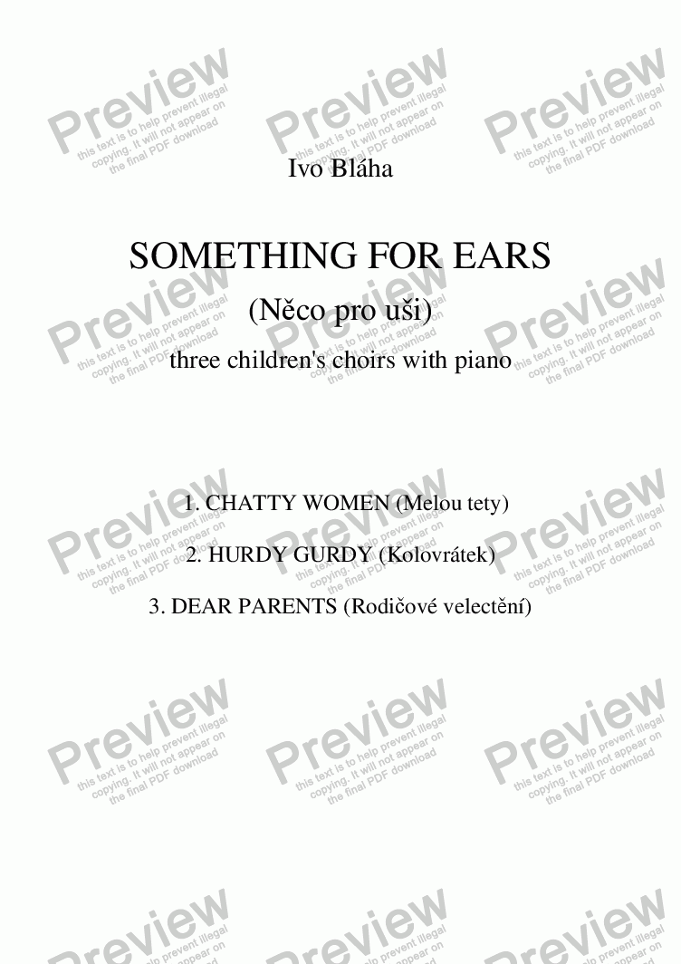 page one of SOMETHING FOR EARS (Něco pro uši) 3 children's choirs (English words)