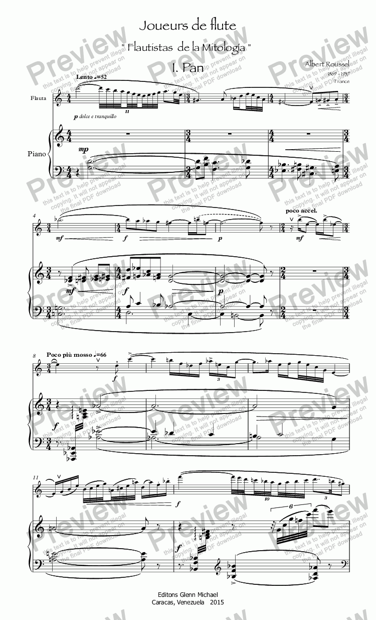"page one of Roussel Jouers "" Flutists of Mythology """