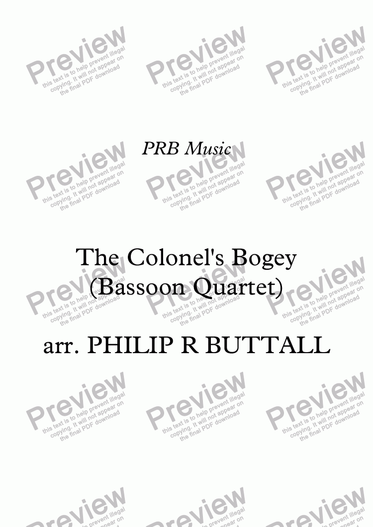 page one of The Colonel's Bogey (Bassoon Quartet)