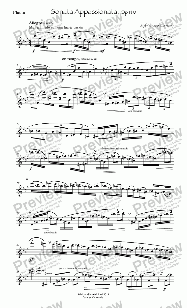 page one of Karg-Elert Sonata Appassionata, Op 140