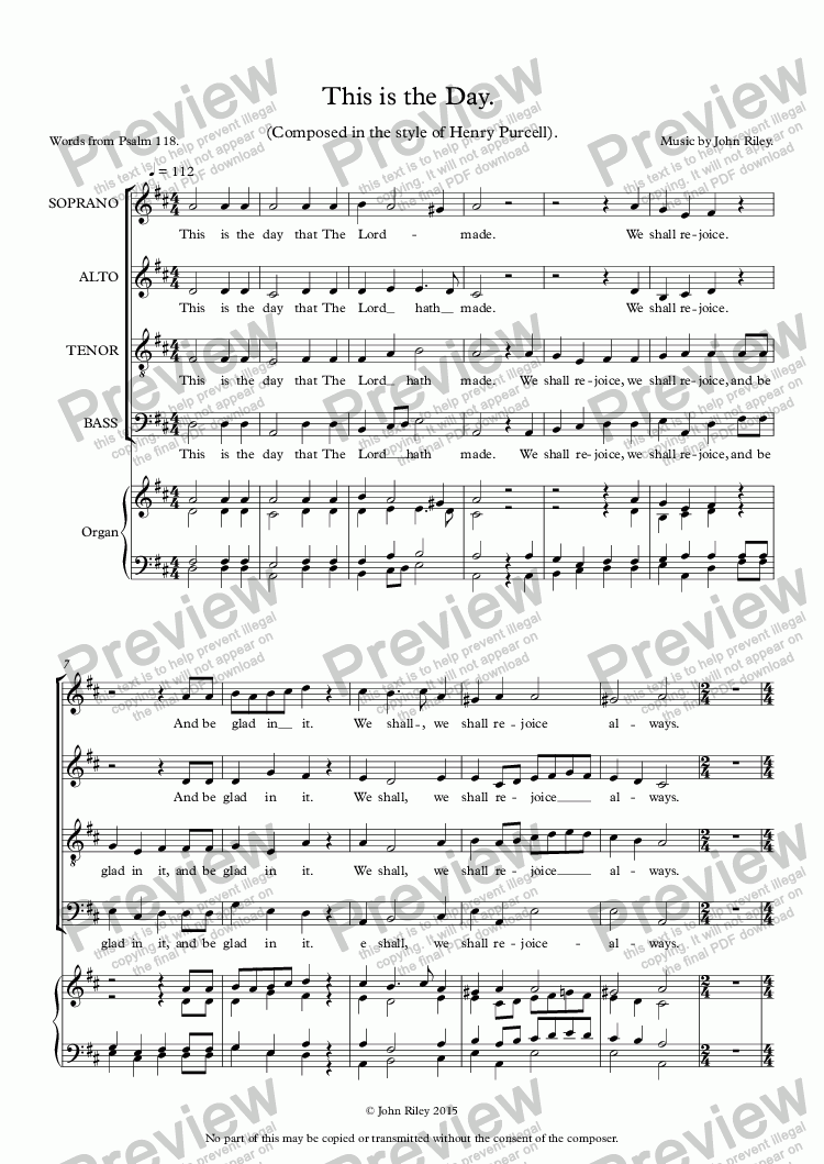page one of This is the Day. Choir (S.A.T.B.)ASALTTEXT