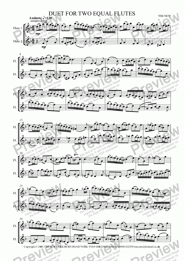 page one of DUET FOR TWO EQUAL FLUTES