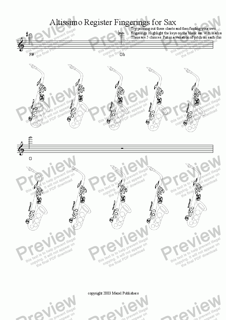 page one of Altissimo Register Fingerings for Sax