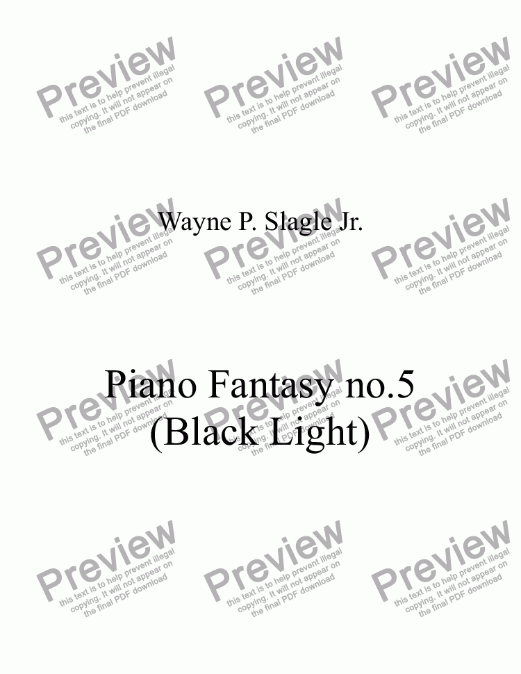 page one of Piano Fantasy no.5 (Black Light)ASALTTEXT