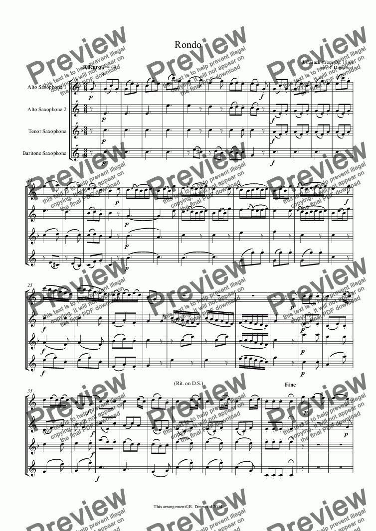 page one of Bach J.C. - Rondo for sax quartet AATB