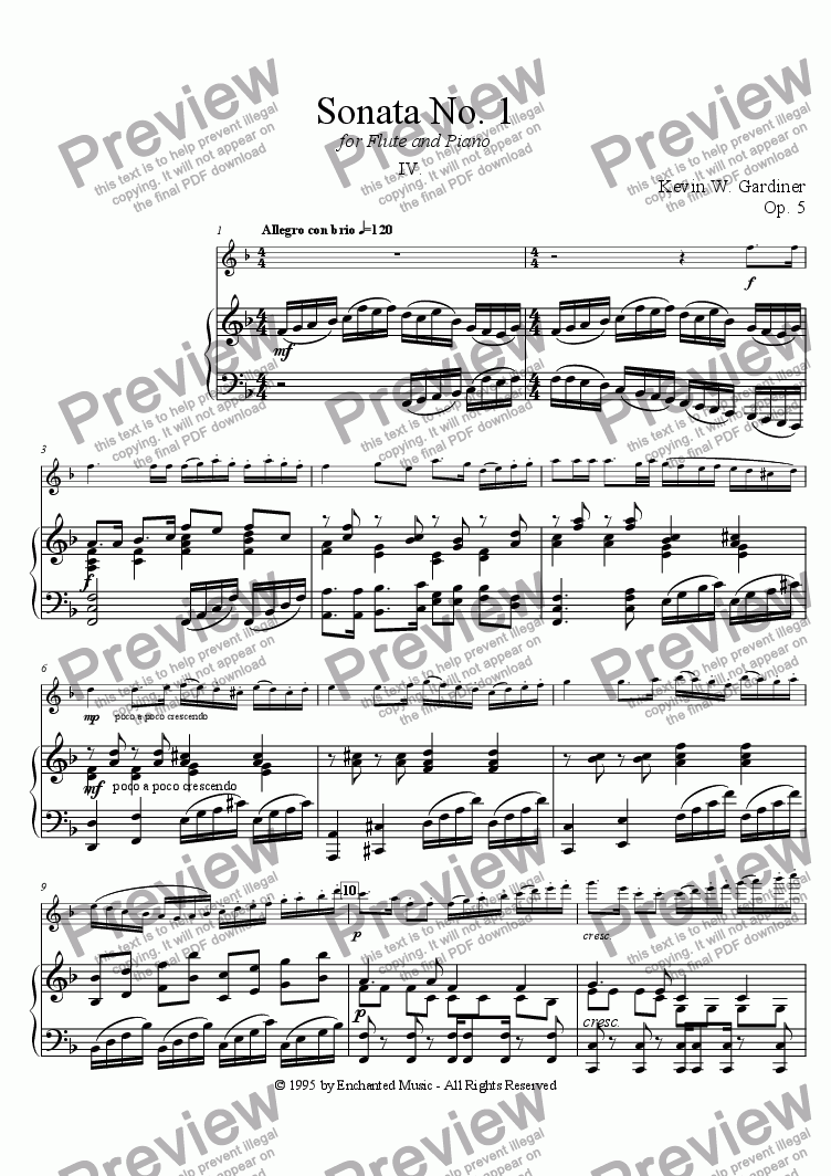 page one of Sonata No. 1 for Flute and Piano:  IV. Allegro giocosoASALTTEXT