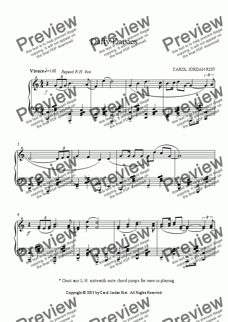 page one of Daffy Daisies (piano)