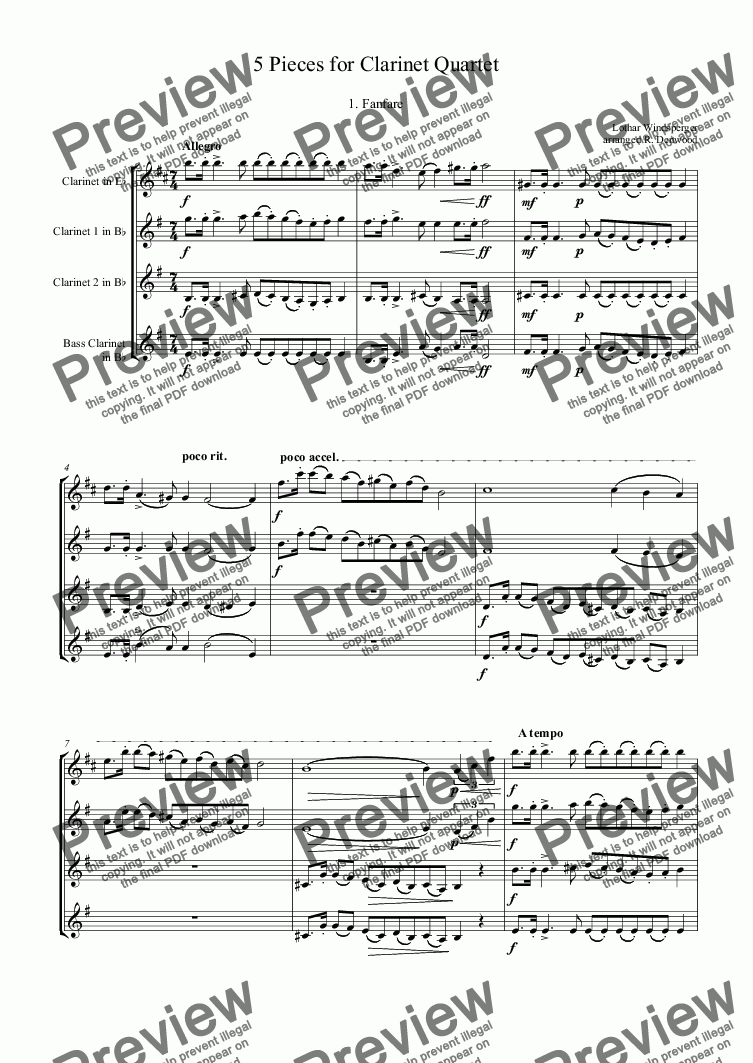 page one of Windsperger - 5 Pieces for Clarinet Quartet Eb,2Bb,Bass