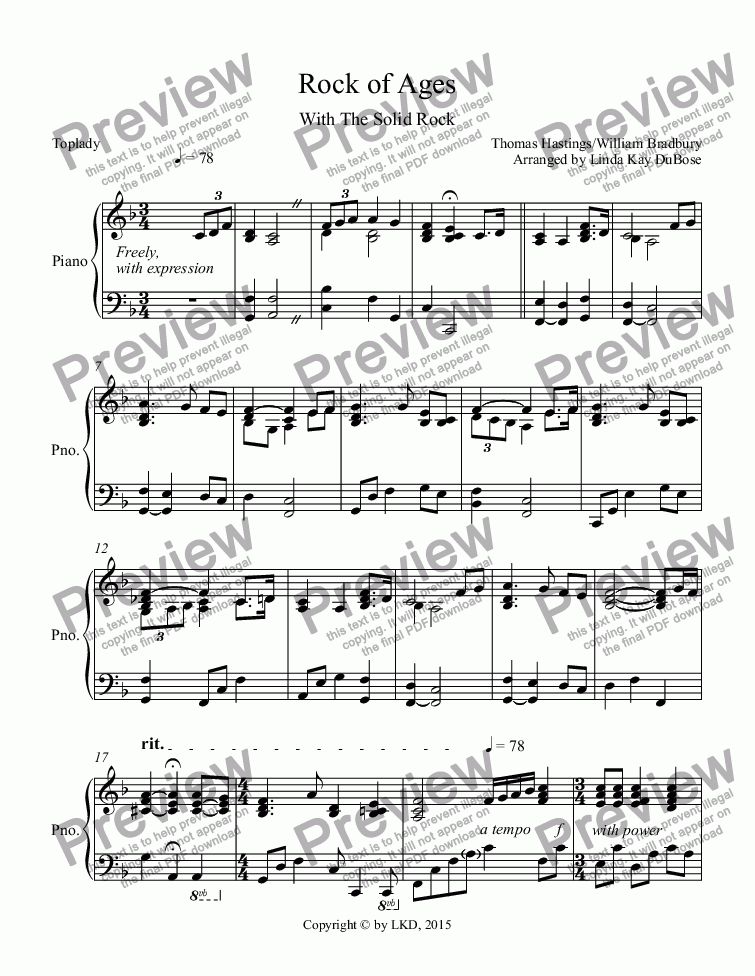 page one of Rock of Ages-Solid Rock