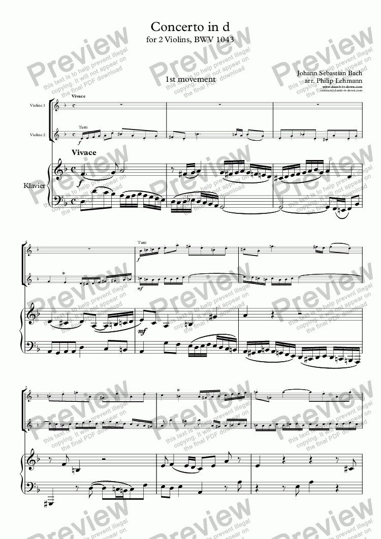 page one of Bach, J.S. - Concerto in d for 2 violins, BWV 1043, 1st mov. - Violin (orig.) & Piano (simplified)