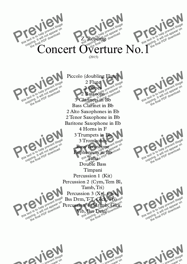 page one of Concert Overture No.1