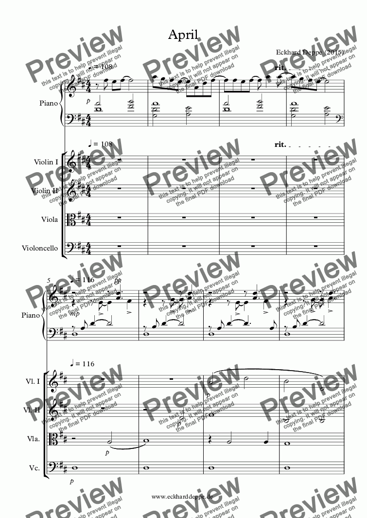page one of 'April' Piano+String Orchestra