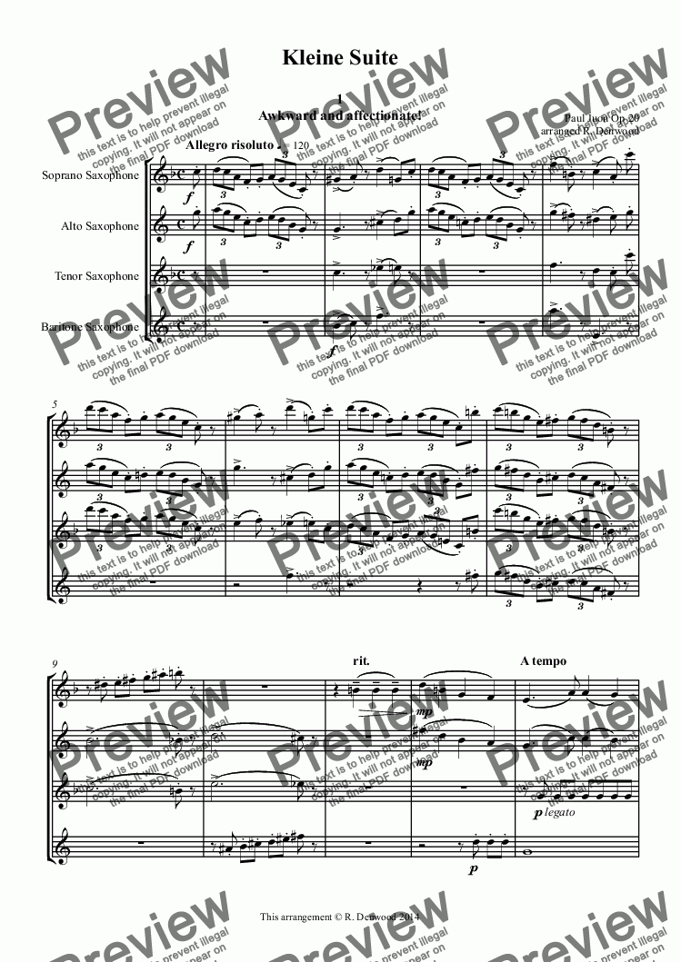 page one of Juon - Little Suite Op20 for saxes SATB
