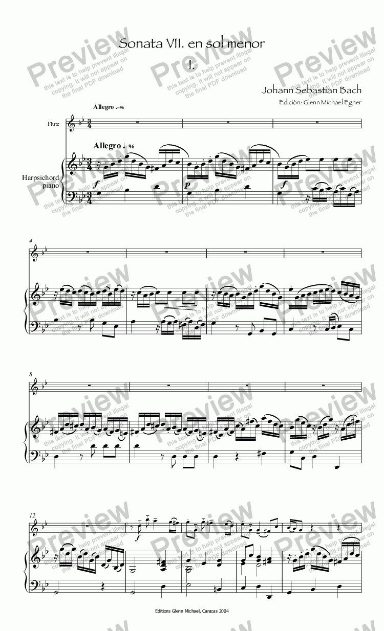 page one of Bach Sonata 7° for flute & pno in G minor