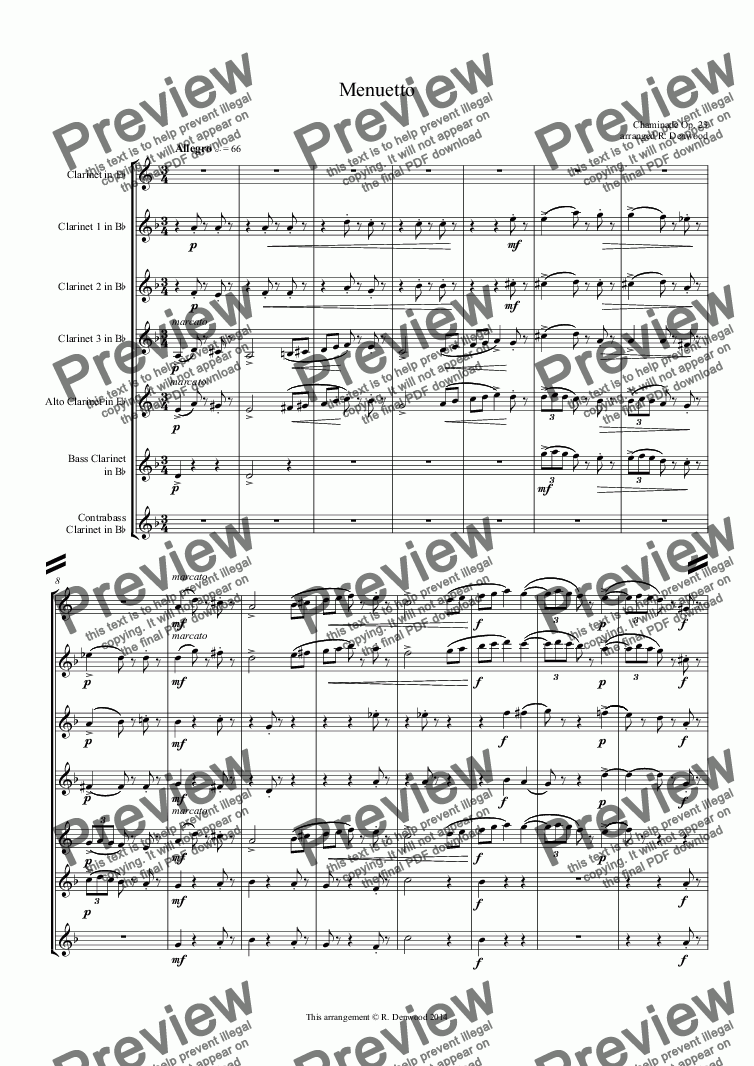 page one of Chaminade - Menuetto, Op 23, for clarinet choir