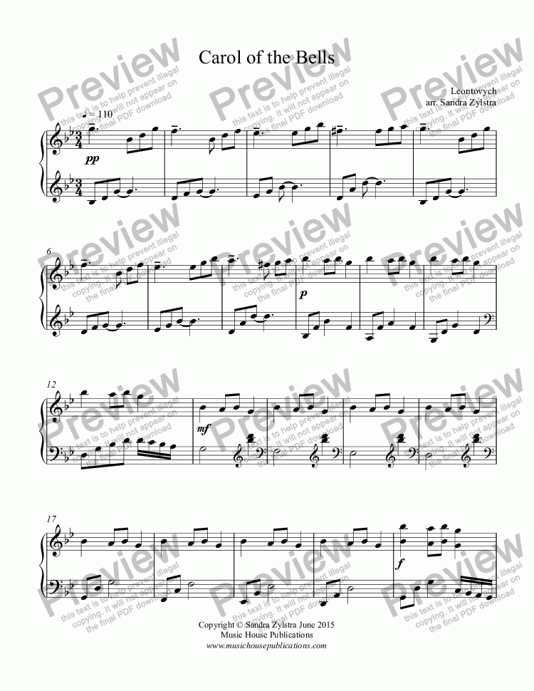 page one of Carol of the Bells (piano solo)
