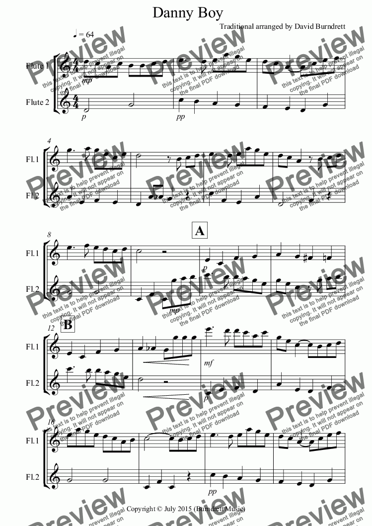 page one of Danny Boy for Flute Duet