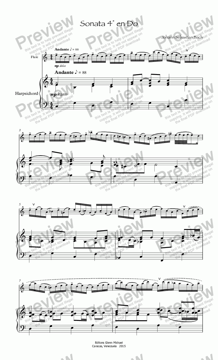 page one of Bach Sonata 4° for flute en Do