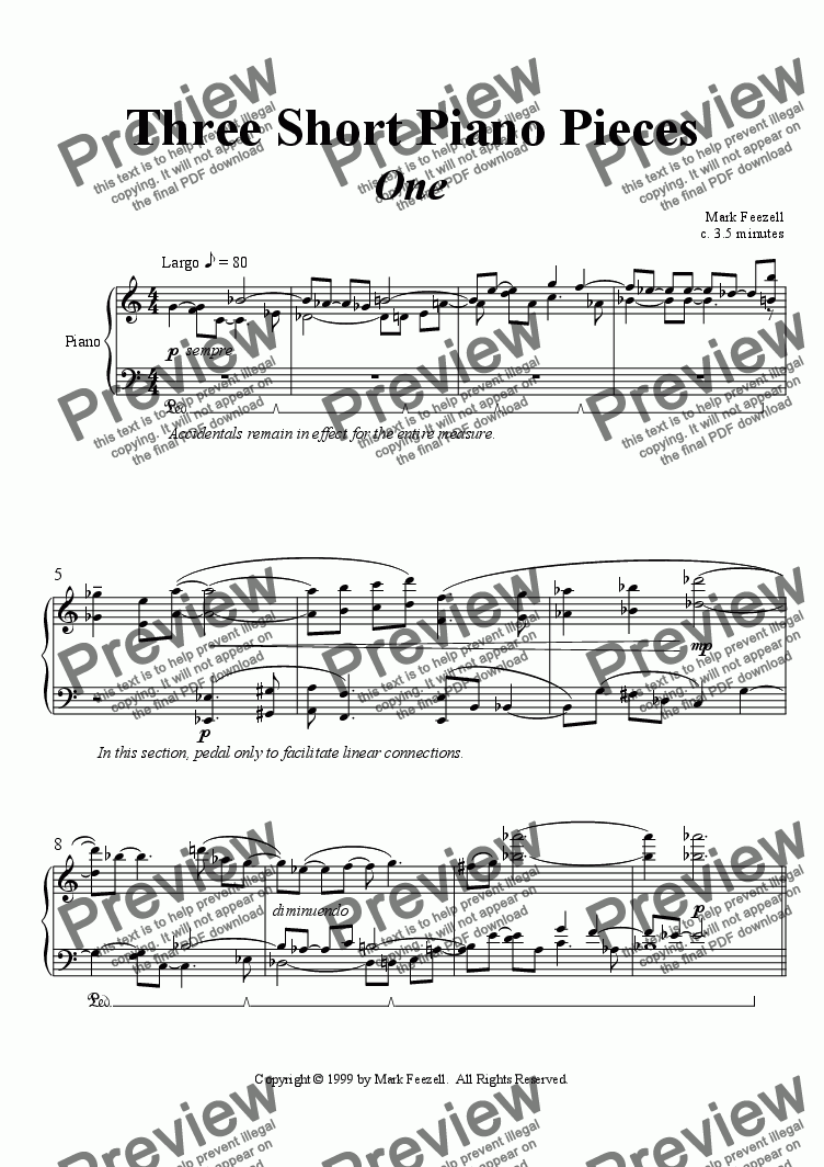 page one of 3 Short Pieces for Piano (1999)
