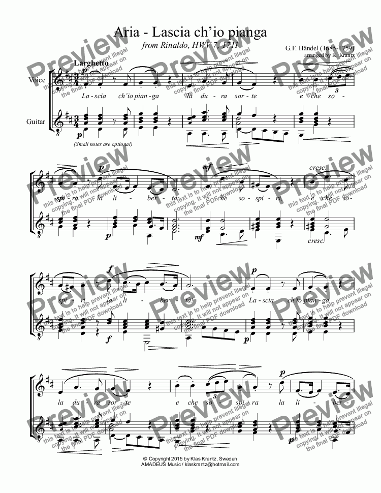 page one of Aria, Lascia ch'io pianga for voice and guitar