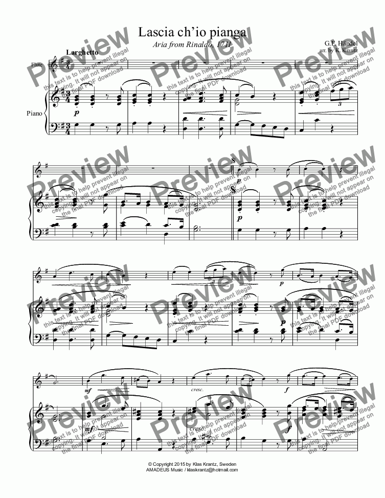 page one of Aria, Lascia ch'io pianga for flute and piano