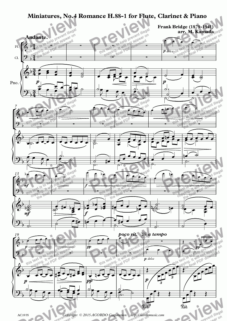 page one of Miniatures, No.4 Romance H.88-1 for Flute, Clarinet & Piano