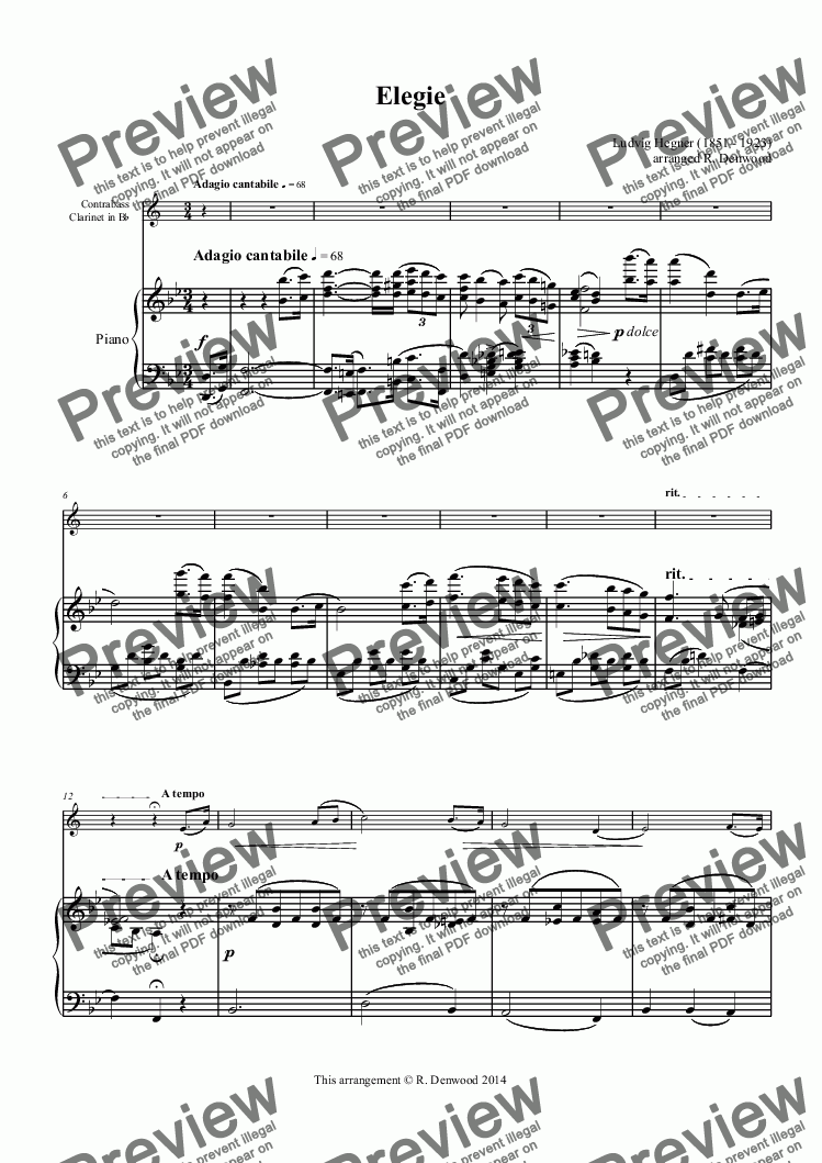 page one of Hegner - Elegie for Bb Contra Bass clarinet and pianoASALTTEXT