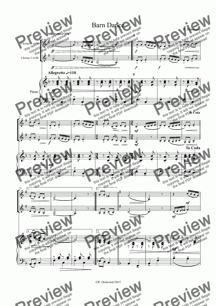 page one of Denwood - Barn Dance for 2 Bb clarinets and pianoASALTTEXT