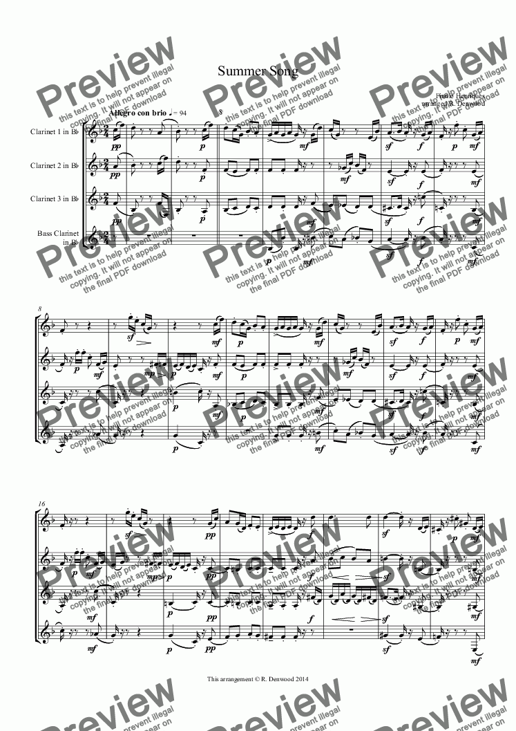 page one of Henriques - Summer Song for clarinet quartet 3 Bb + Bass