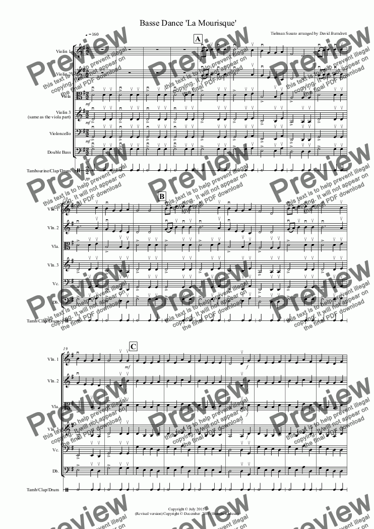page one of Basse Dance by Susato for String Orchestra