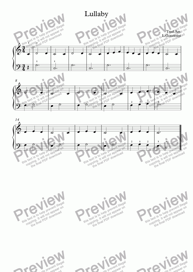page one of Lullaby (Easy Piano Solo)