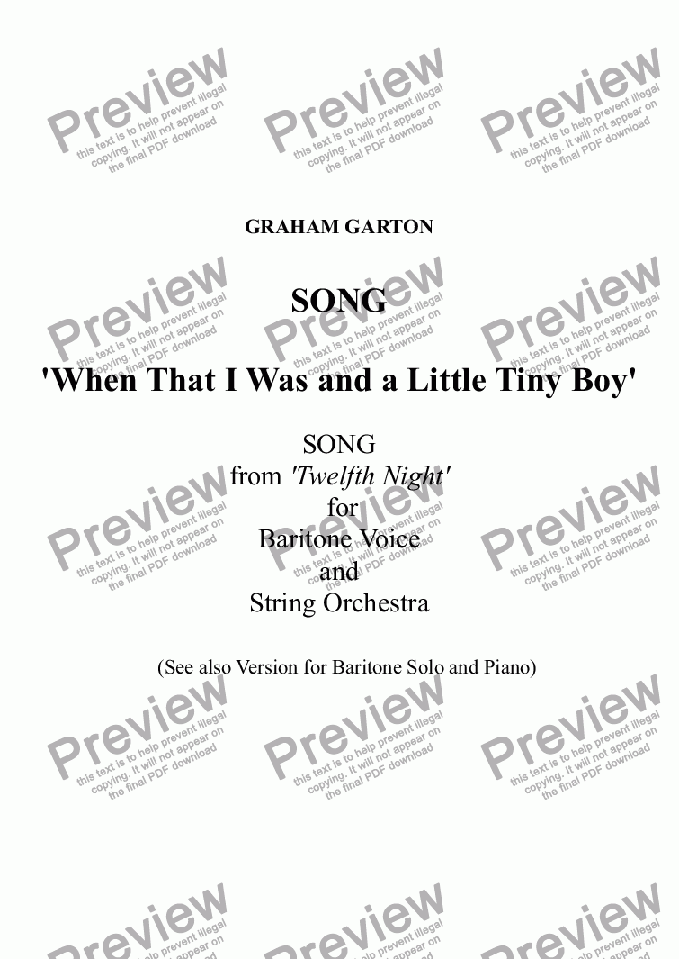 page one of SONG - 'WHEN THAT I WAS AND A LITTLE TINY BOY' original Score for Baritone Voice and String Orchestra - Words: Shakespeare (Twelfth Night)