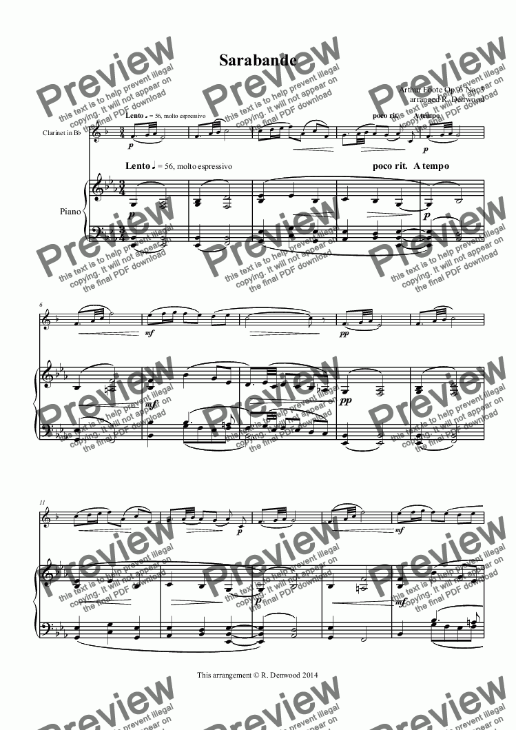 page one of Foote - Sarabande for Bb Clarinet & Piano