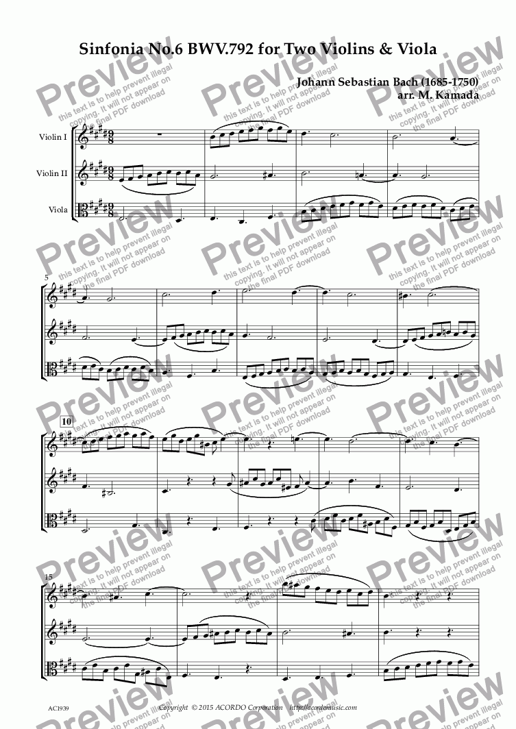 page one of Sinfonia No.6 BWV.792 for Two Violins & Viola
