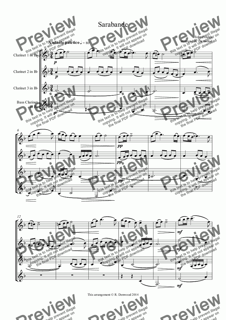 page one of Foulds - Sarabande for clarinet quartet 3 Bb, +bassASALTTEXT