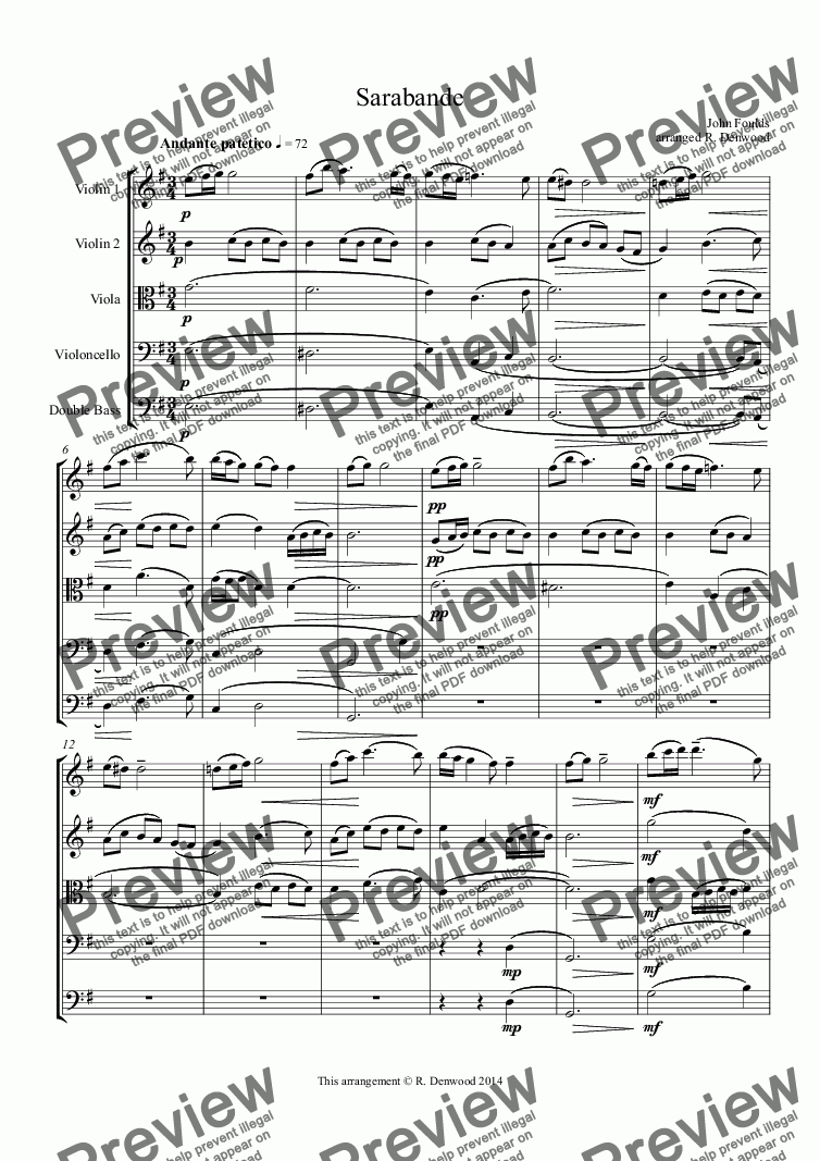 page one of Foulds - Sarabande for string quartet or string orchestraASALTTEXT