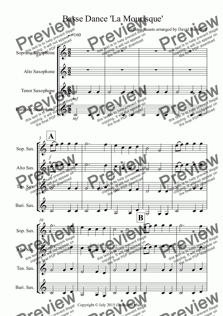 page one of Basse Dance by Susato for Saxophone Quartet
