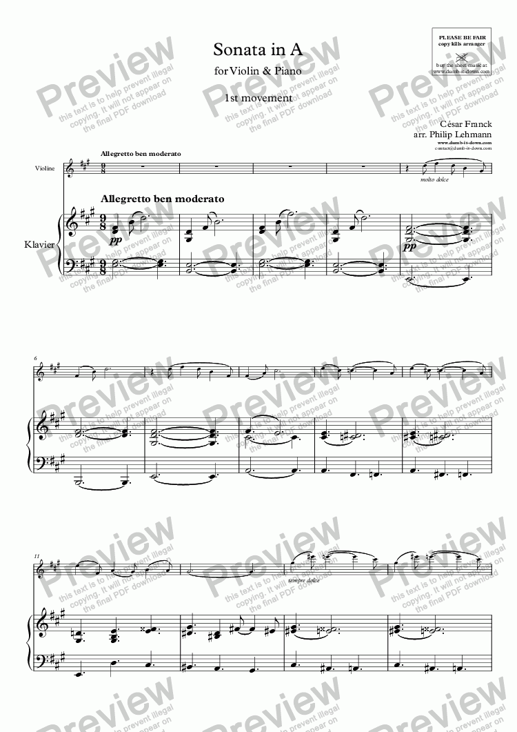 page one of Franck, C. - Sonata in A, FWV 8; 1st mov. - for Violin (orig.) & Piano (simplified)